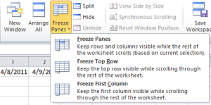 Freeze Columns Option on the Ribbon Bar