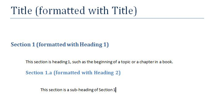 Formatting the Headings