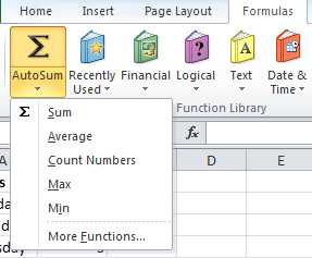 The Autosum Feature on the Formula Menu