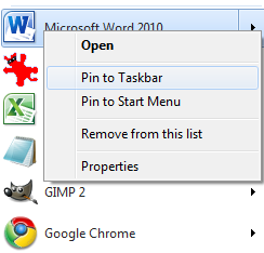 Pin to Start Menu and Pin to Taskbar Options